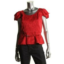 Nipon Boutique Red Jacquard Lined Cap Sleeves Peplum w belt Top Blouse 14 - NEW