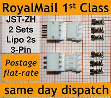 2x JST-ZH connector plug: (Male, Female, 3 Crimps) for micro receivers + servos