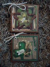 5 WOODEN St. Patrick's Day ORNAMENTS/Irish HANG TAGS Handcrafted Set87e