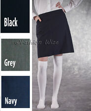 Girls Elasticated School Skirt Grey Black Navy Age 3 4 5 6 7 8 9 10 11 12 13 14