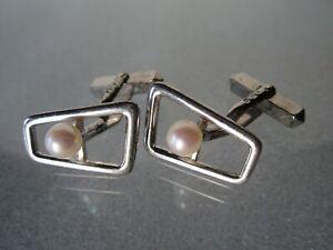 Vintage Mikimoto Mid-century Modern Sterling Silver Akoya Pearls Cufflinks