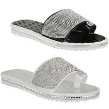 Ladies Women Summer Beach Gem Diamante Sliders FlipFlop Sandals Jelly Shoes Size