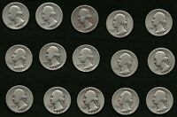 Lot of 15 1942 Silver Washington US Quarter Coins FREE Delivery
