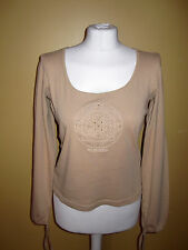 MEXX Womans Top Blouse Logo Pattern 100% Cotton Light Beige Long Sleeves size L