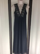 Gently Worn Vintage Black Nylon Lace Ivory Inset Shadowline Gown Size S Slip