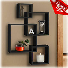 Wall Cube Shelves Black Floating Modern Contemporary Storage Set Home Decor New
