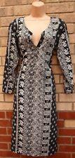 BLACK WHITE BAROQUE PAISLEY FLORAL V NECK LONG SLEEVE SHIFT TUNIC BAGGY DRESS 12