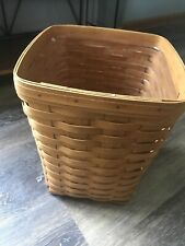 """1997 LONGABERGER WASTE BASKET WITH PROTECTOR  9"""" x 12"""""""