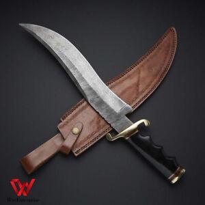 Custom handmade Damascus steel Bowie hunting knife with leather sheath