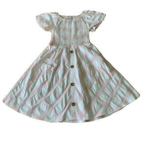 GIRLS size 6 COTTON  pink white check summer  DRESS smocked elastic  NEW  Target