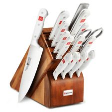 Wusthof Gourmet 16pc White Handle Knife Block Set - Acacia