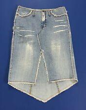 Gonna zul ukei mini jeans S 28 42 azzurra spacco hot blu strappi usata T1365