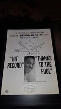 Brook Benton Thanks To The Fool Rare Original Promo Poster Ad Framed!