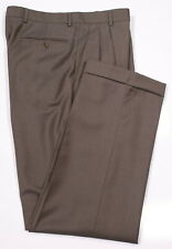 ZANELLA Bennett Brown w/ White Woven Dots Pleated Wool Dress Pants 33 x 31
