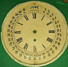 ANTIQUE GILBERT MARANVILLE-GALUSHA CALENDAR WALL CLOCK DIAL DAY DATE MONTH 1861