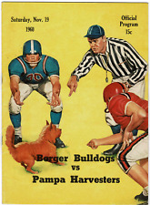 1960 BORGER BULLDOGS VS PAMPA HARVESTERS (TEXAS) High School FOOTBALL Program