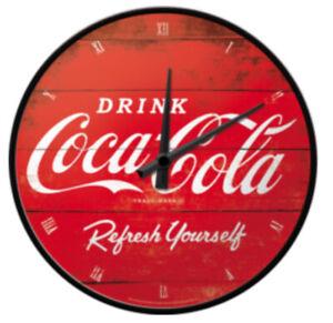 Retro Wall Clock Drink Coca Cola  GARAGE 30cm Metal Glass Licensed