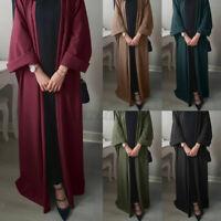UK Womens Long Sleeve Casual Loose Cardigan Ladies Abaya Muslim Maxi Overcoats