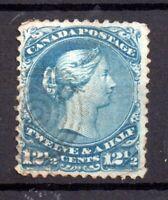 Canada 1868 12 1/2c blue SG60 Large Head good used WS18136