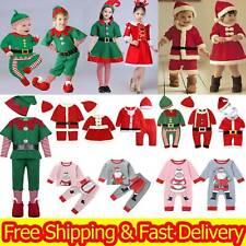 Kids Girls Boys Christmas Elf Cosplay Xmas Santa Claus Costume Fancy Up Dress