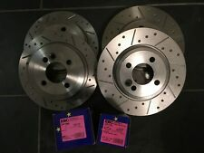 Mini R52 Convertible Cooper S Grooved Brake Discs & EBC UltiMAX Pads, Fnt + Rear