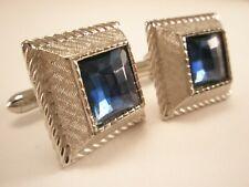 -Blue Rhinestone Vintage SWANK Silver Tone Cuff Links