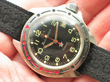 Vintage soviet VOSTOK Komandirskie Military Watch BLACK Dial ZAKAZ MO USSR