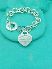 "Genuine Return To Tiffany & Co Silver Heart Tag Toggle Bracelet7.5""/ Retail £430"