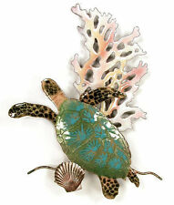 Mini Sea Turtle w/ Coral Metal Wall Art Sculpture by Bovano of Cheshire W630