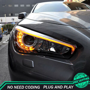For Infiniti Q50 Headlight Assemblies 2014-2019 HID Xenon Beam Projector LED DRL