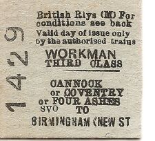 B.R. Edmondson Ticket -  Cannock or Coventry or Four Ashes to Birmingham New St.
