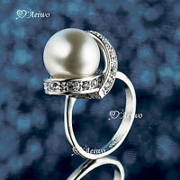 18K WHITE GOLD GF MADE WITH SWAROVSKI CRYSTAL PEARL RING ELEGANT