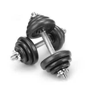 """2x 10kg Cast Iron Dumbbell Set Weight Plates Discs 1"""" hole for Barbell W/ Case"""