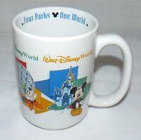 Disney Ceramic 11 oz. DAD Four Parks One World Mug Cup Mickey Goofy Donald Pluto