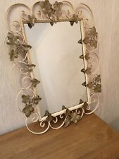 Vintage Retro Look Ornate Ivory Metal Framed Wall Mirror with Brass Floral Decor
