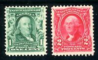 USAstamps Unused FVF US Serie of 1902 Scott 300 MNH 301 OG MVLH
