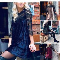 Vestito Mini Donna Manica 3/4 in Pizzo Woman Mini Sleeve Lace Dress 110391 P