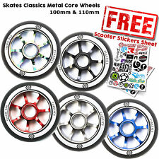 Skates Classic 100mm / 110mm Stunt Scooter Metal Core Wheels - All Colours