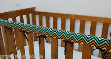 Baby Cot Rail Cover Crib Teething Pad - Rainbow Chevron Black *****REDUCED****
