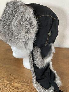 Mad Bomber Rabbit Fur Lined Hat Black Size Large