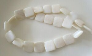 """14 1/2"""" string of natural shell beads, square"""