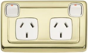 Polished Brass Double Power Point with Clip On Cover and White Insert 5859