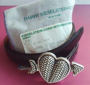 BARRY KIESELSTEIN CORD STERLING SILVER WOVEN HEART ARROW BUCKLE 87GR BELT NEW
