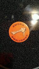 """2X JOHN LENNON RELATED BADGE """"SWORD SWALLOWER"""" pinback button"""