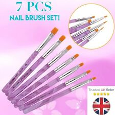 7pcs Set chiodi Pennello Acrilico UV BUILDER GEL SMALTO ART pittura #4 #6 Kit UK