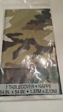"""Unique 54"""" x 84"""" Military Camo Disposable Plastic Tablecover Birthday Army"""