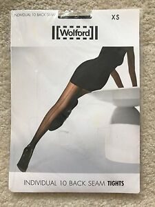 """New Women Wolford """"Individual 10 Back Seam"""" Tights, Honey Color, Size XS"""