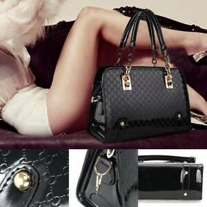 Ladies Women Classic Patent leather handbags Pocket Tote shoulder Handbag