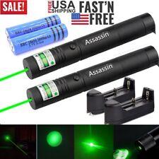 2Pack 900Miles Green Laser Pointer Pen Visible Beam Rechargeable Lazer+Char+Batt
