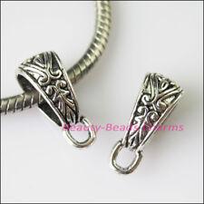 6Pcs Tibetan Silver Tone Flower Bail Bead Fit Bracelet Charms Connector 7x17.5mm